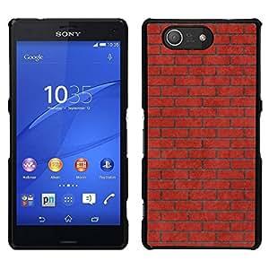 // PHONE CASE GIFT // Duro Estuche protector PC Cáscara Plástico Carcasa Funda Hard Protective Case for Sony Xperia Z3 Compact / Brick Wall Pink Red Meaning Music /