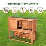 Kinsuite 44' Rabbit Hutch Bunny Cage Wood House 2 Floors Chicken Coop Hen Cage House Pet Hutch for Indoor Outdoor Garden Backyard