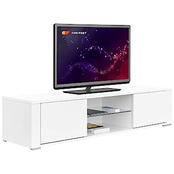 Comifort TV83B – Mueble TV Salón Moderno Mesa Televisión, Colores: Blanco, Madera De Roble, Blanco/Roble, 140x36x32,5 Cm (Blanco)