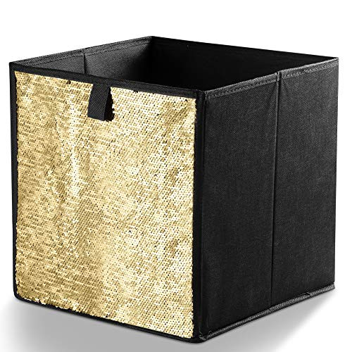 IHOMAGIC Foldable Sequin Storage Basket Bin Closet Organizer Cubes Boxes Storage Cubes as Bookcase Fabric Drawer Container for Nursery Home Drawer Organizer Clothes for Clothes, Home, Office(Gold)