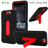 HTC One A9 Case, CellJoy [Extreme Grip] {Red & Black} HTC One A9 2015 Release Model Case Hybrid Ultra Fit Dual Protection [Heavy Duty] Kickstand **Shock-proof** [Rugged Grip Skin] - Robot Case Cover