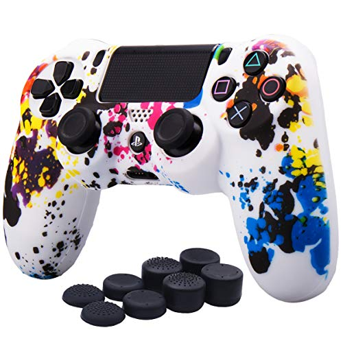 YoRHa Water Transfer Printing Camouflage Silicone Cover Skin Case for Sony PS4/slim/Pro Dualshock 4 controller x 1(graffiti) With Pro thumb grips x 8