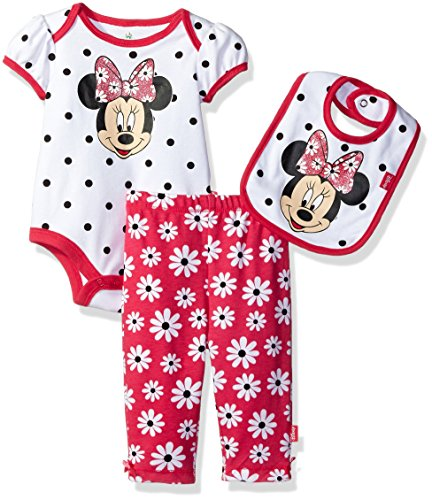 Cotton Three Piece Bodysuit (Disney Baby Girls' Minnie Mouse 3 Piece Soft Bodysuit, White Dots, 3-6 Months)