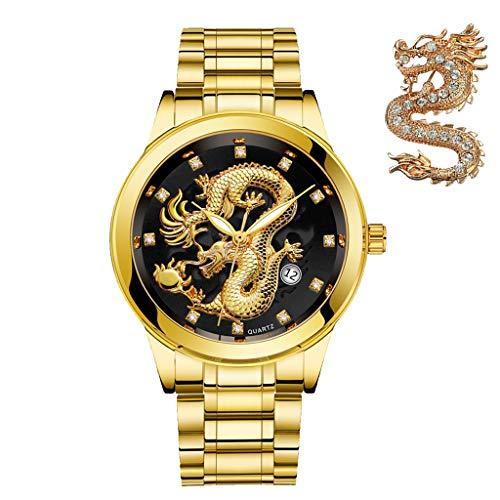 - Udaney Mens Black Business Casual Quartz Wristwatch Golden Dragon Stainless Steel Strap Calendar