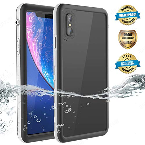Effun iPhone Xs Max Waterproof Case, IP68 Certified Waterproof Shockproof Snowproof Dirtproof Fully Sealed Underwater Cover with Built-in Screen Protector for iPhone Xs Max (6.5 inch) White