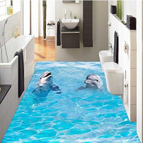 3 D ステレオ 2 頭のイルカが海の粘着トイレバスルームの床の通路ロビー壁画壁紙 430cmX300cm B075KCYQKW 430cmX300cm