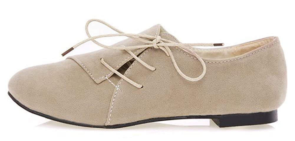 IDIFU Womens Casual Round Toe Low Top Slip On Loafers Shoes Faux Suede Lace Up Flat Sneakers