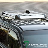 Topline Autopart 49″ Silver Square Roof Rail Rack Cross Bars Kit+Cargo Carrier Luggage Basket T1