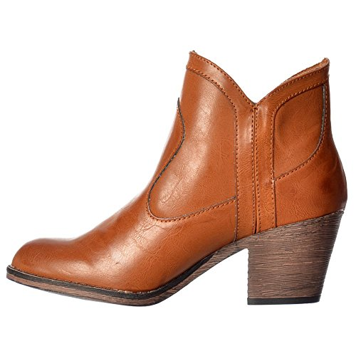 Damas Sidney Bromley Bloque Occidental Talón Tobillo Botas - Negro, Marrón, Whisky Rocket Dog Femenina Whisky