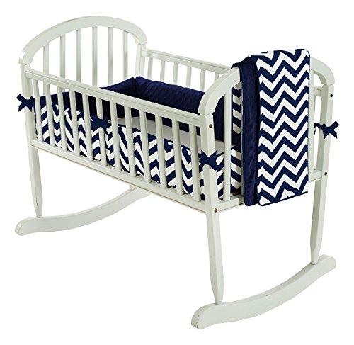 Baby Doll Bedding  Minky Chevron Cradle Bedding Set, Navy