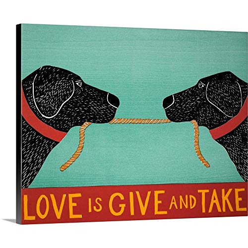 Stephen Huneck Premium Thick-Wrap Canvas Wall Art Print entitled Love Is - Black Labs 20\