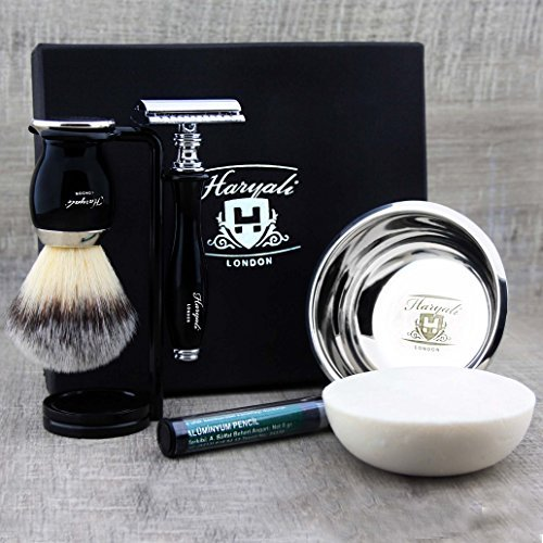 Classic Men's Shaving Set >Synthetic Brush, DE Safety (Blades NOT Included), Dual Stand, Engraved Bowl & Soap -
