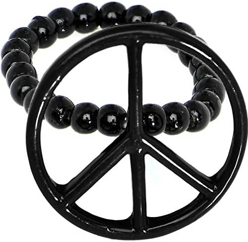 Black Hollow Peace Sign Stretch Ring