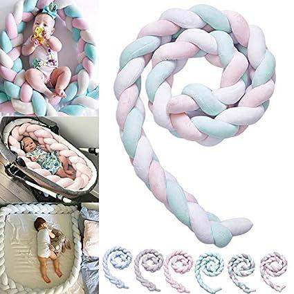 Coomir b/éb/é Berceau arr/êt nou/é tress/é en Peluche p/épini/ère d/écoration Berceau Cadeau Matelas lit Couchage Pare-Chocs Pink2