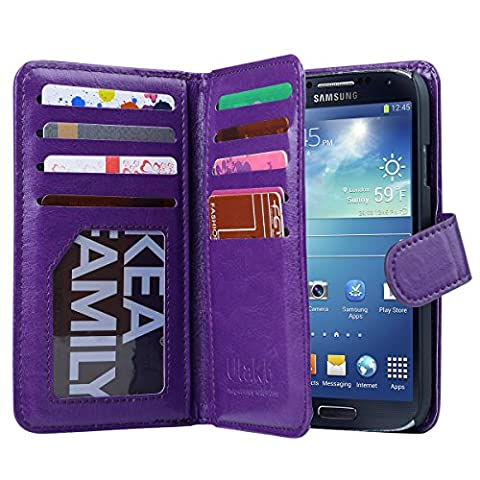 Galaxy S4 Case, S4 Case -ULAK Multi Card Slots Series PU Leather Magnetic Wallet Case Cover for Samsung Galaxy S4 IV i9500 (Cell Phone Covers For Samsung 4)