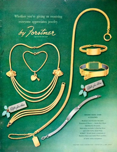 1948 Ad Forstner Jewelry Accessory Genuine Snake Chain Necklace Bracelet Silver - Original Print Ad