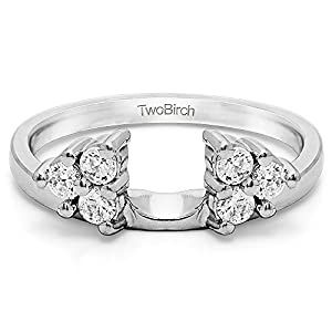 Wrap in Forever Brilliant Moissanite by Charles&Colvard (0.11Ct) Size 3 To 15 in 1/4 Size Interval
