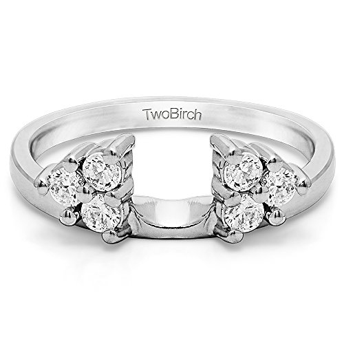 Diamond Three Stone Ring Wrap Enhancer in Sterling Silver G H I2(0.12Ct)Size 3 To 15 in 1/4 Size Interval