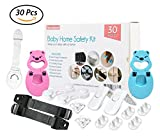 fireplace safety latch - Baby Home Safety Set: Tv Safety Strap | Door Finger Protectors | Toilet Seat Locks | Cabinet Locks | Corner Guards | Drawer Locks | Plug Protectors | 3M Adhesive Tape and Easy to Install | 30 Pieces