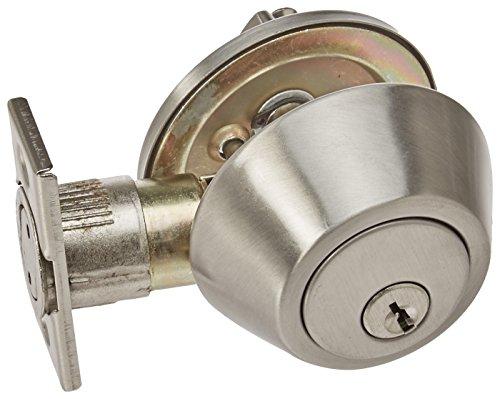 Design House 727446 Single Cylinder Deadbolt, Satin Nickel Nickel Finish Single Cylinder