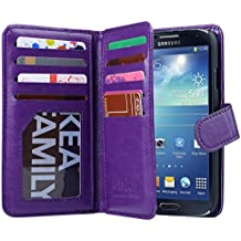 Galaxy S4 Case, S4 Case -ULAK Multi Card Slots Series PU Leather Magnetic Wallet Case Cover for Samsung Galaxy S4 IV i9500 (Purple)