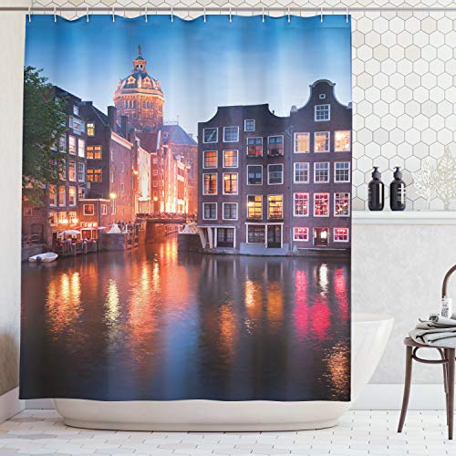 Ambesonne Wanderlust Decor Collection, Night Time Photography of the Neo-Renaissance Building Amsterdam, Polyester Fabric Bathroom Shower Curtain Set with Hooks, Orange