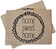 Home Sweet Home burlap placemats - set of two