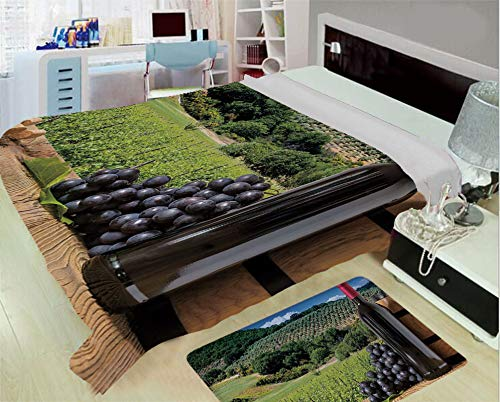 3-D Printing Fine Comfortable Flannel Blanket,Wine,Idyllic Tuscany Country Landscape Agriculture Harvest Grape Plantation Decorative,Black Green Light Brown,One Side Printing,Excess Value