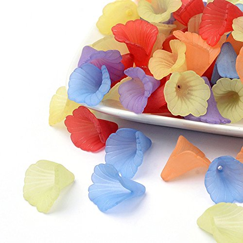 Multicolor Assorted Ruffled Chunky Acrylic Frosted Lily Flower Beads for Jewelry Making -