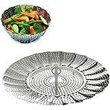 "COOKSET of BangShou Vegetable Steamer Basket – Foldabe Stainless Steel Food Cooking Steamer Insert (Size 5.5"" to 9"")"