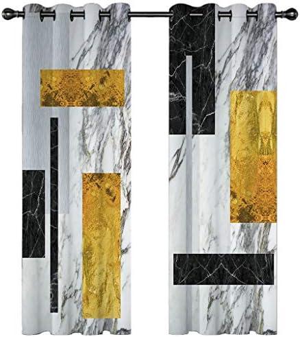 vuoto 3D Tende Oscuranti Pittura a Inchiostro Nero Grigio Giallo Tenda Occhielli Tende da Interni Camera da Letto Soggiorno Moderne Tenda Cameretta Bambini 2 Pannelli 140x250cm