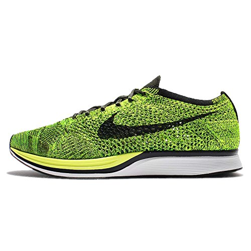 (Nike Flyknit Racer Unisex Running Trainers 526628 Sneakers Shoes (7.5 D(M) US, Volt Black Sequoia 731))
