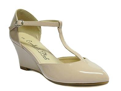 9f3abb47b34b7c Comfort Plus Women T-Bar Wedge Wide fit Shoes UK Size 3 - 8 Sissy ...