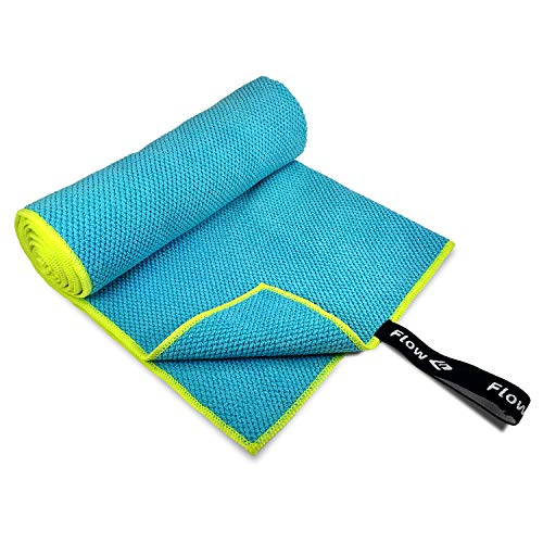 Flow Quick Dry Swim Towel for Competitive Swimming - Available in 2 Sizes and 3 Colors (Blue, Purple, Gray) (Blue, Large (60