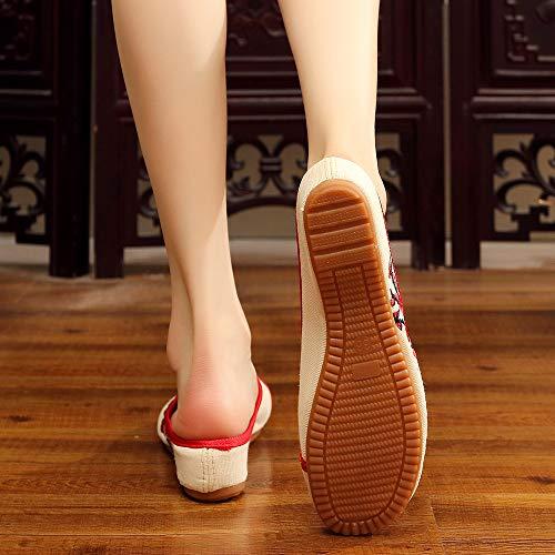 Bozevon Vintage Jane Chaussures Pour Mary Femmes Décontracté Beige Broderies rOrCq