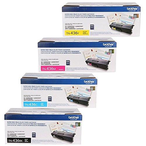 Brother TN436BK, TN436C, TN436Y, TN436M 4-Color Super High Yield Toner Cartridge Set