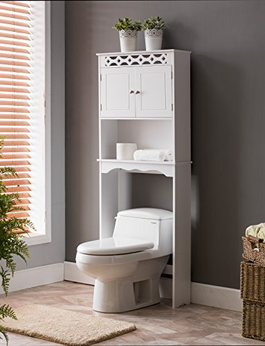 Charming Kings Brand Furniture Over The Toilet Bathroom Space Saver Storage Cabinet,  White