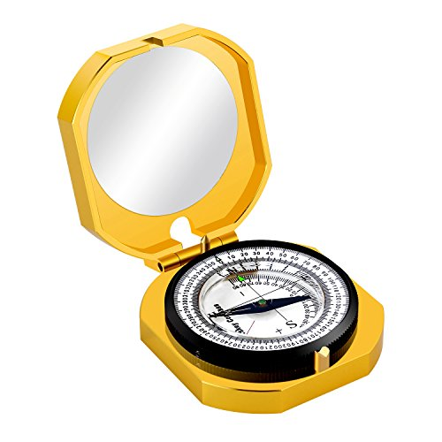 Eyeskey Professional Top-Grade Multifunction Compass for Outdoor Activities, High Accuracy, Waterproof and Shakeproof, Golden luxury (Luxury Compass)