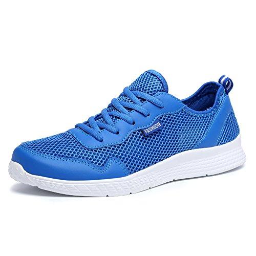 Scurtain Mens Casual Ademende Mesh Wandelschoenen Lichtgewicht Lace Up Fashion Sneakers Groot Formaat Blauw