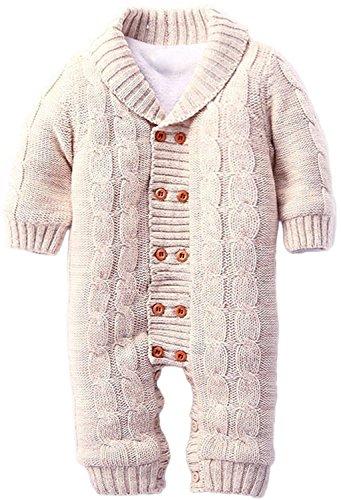 ZOEREA Infant Newborn Baby Romper Long Sleeve Velvet Knitted Sweaters Khaki (Boys Halloween Clothes)