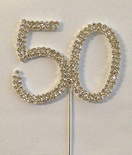 Rhinestone Crystal Silver Number Anniversary Birthday Cake Cupcake Topper NEW