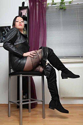 Blockabsatz Kunstwildleder Low pour Erogance Stiefel Overknees Bottes Femme TnHqp