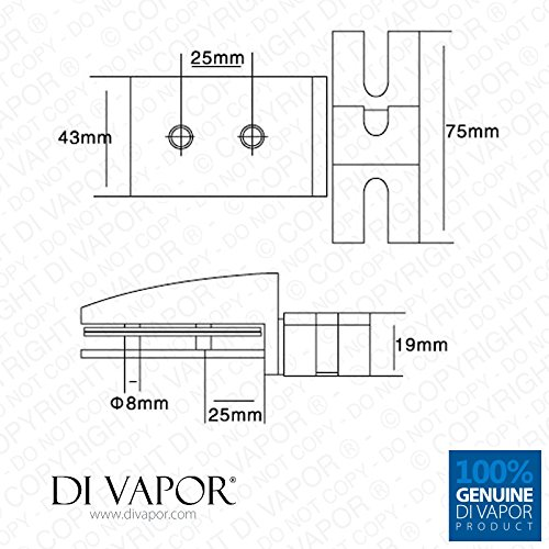 Shower Door Glass Pivot Hinge Di Vapor R 25mm Hole to Hole