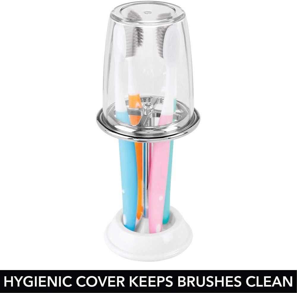 Supporto per spazzolini con 4 scomparti in plastica per il bagno trasparente//argento opaco mDesign Bicchiere portaspazzolino Porta spazzolini di alta qualit/à con coperchio