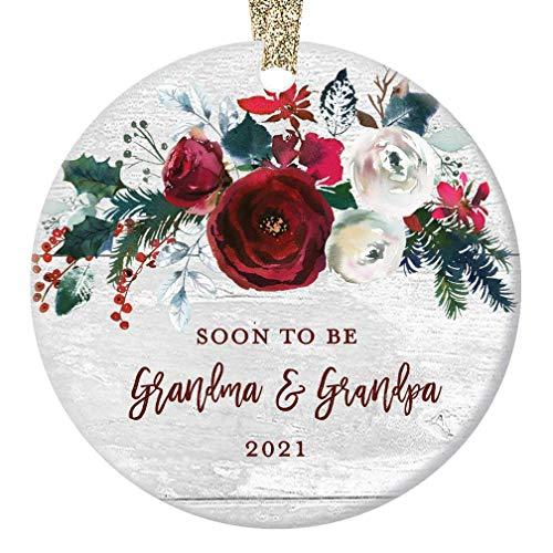 "Grandma & Grandpa Pregnancy Announcement Christmas Ornament Newborn Baby Due 2021 Soon To Be Grandparents Modern Farmhouse Ceramic Floral Keepsake 3"" Flat Circle Porcelain w Gold Ribbon & Free Box"
