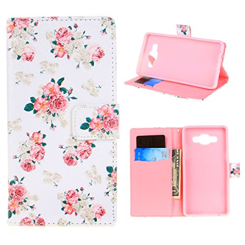 For Galaxy A5 Case , Fernando Zou White Flower Rose Ultra Thin [ Wallet Magnetic ] Hybrid PU Leather and Soft TPU [ Card Holder ] Flip Stand Folio Protective Case Cover for Samsung Galaxy A5 SM-A500F + Screen Protector + Stylus Pen [ E49 ]
