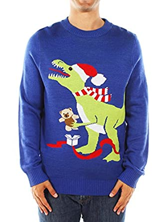 Amazon.com: Men's Ugly Christmas Sweater - Blue T-Rex Sweater ...