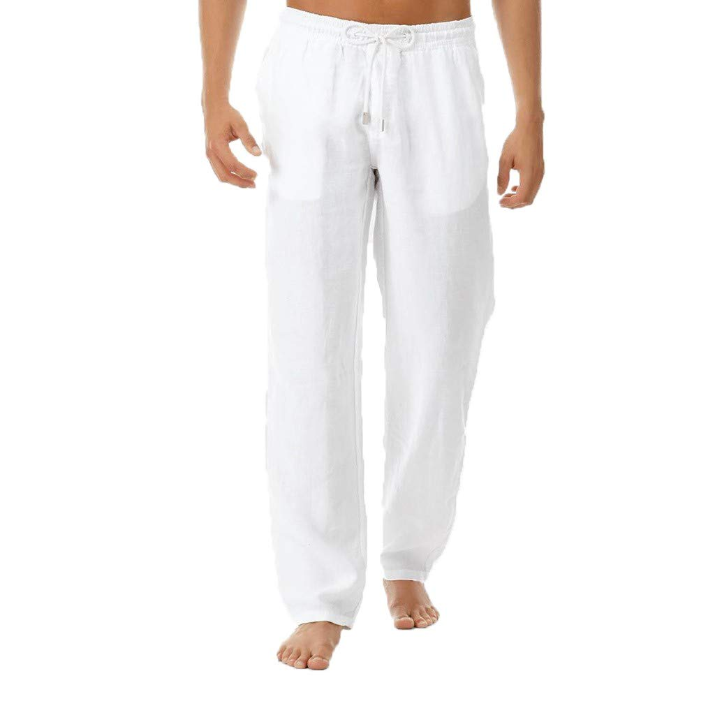 Amazon.com: Mens Plain Straight Pants - Men Casual Linen ...