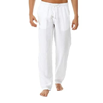 Amazon.com: Mens Plain Straight Pants - Men Casual Linen ...