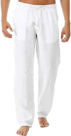 VPASS Pantalones Hombre Verano Casuales Moda Deportivos Algodón y Lino Pants Color sólido Jogging Pantalon Fitness Suelto Pantalones Largos Pantalones Ropa de Hombre